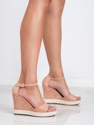 Designové dámské  sandály růžové na klínku