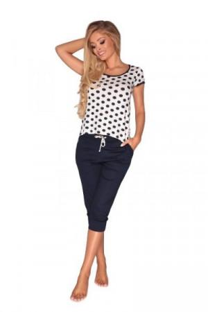 De Lafense 595 Coline Dámské pyžamo XXL tmavě modré puntíky-růžová