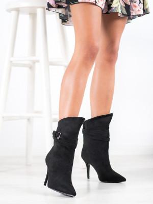 Luxusní dámské  kotníčkové boty černé na jehlovém podpatku
