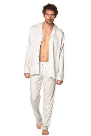 Klasické pánské pyžamo Alan pruhy šedá