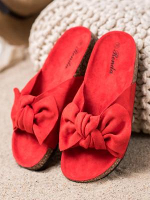 Módní  nazouváky dámské červené bez podpatku