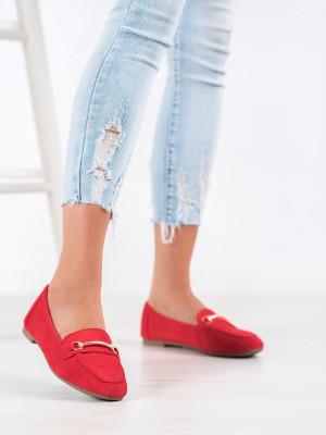 Komfortní  mokasíny dámské červené bez podpatku