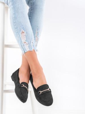 Designové dámské  mokasíny černé bez podpatku
