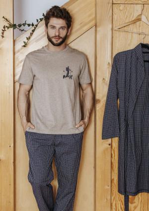 Pánské pyžamo MNS 043 B19 béžová žíhaná