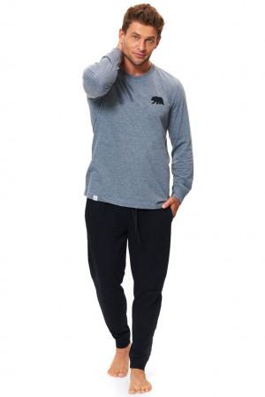 Bavlněné pánské pyžamo Bear šedé šedá
