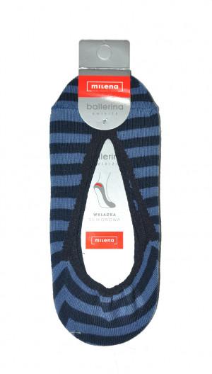 Dámské ponožky balerínky Milena 50491 proužky žlutá-bílá univerzální