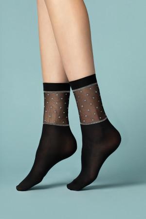 Dámské ponožky Fiore G 1094 Prima Neve 40 den black-lurex univerzální