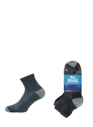 Pánské ponožky Lonsdale LNS 10 Quarters Tech A'3 antracitová-šedá-žíhaná 43-46