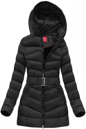 Černá prošívaná dámská zimní bunda s páskem (GS278W) černá XXL (44)