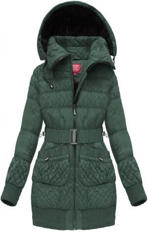 Zelená prošívaná dámská zimní bunda s páskem (J6311W) zelená S (36)