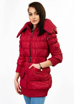 Prošívaná dámská zimní bunda v bordó barvě s páskem (J6311W) bordó S (36)