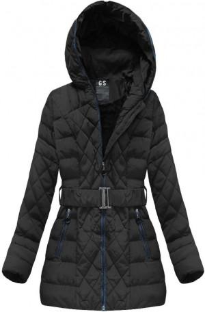 Černá prošívaná dámská zimní bunda s páskem (23BS-B) černá XXL (44)