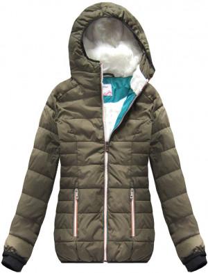 Krátká dámská zimní bunda v khaki barvě s kapucí (391W) khaki M (38)
