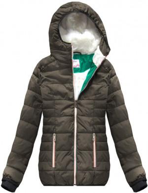 Hnědá dámská zimní bunda s kapucí (391W) hnědá XXL (44)