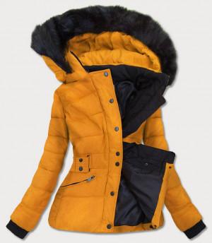Žlutá dámská zimní bunda s kapucí (B9539) žlutá S (36)
