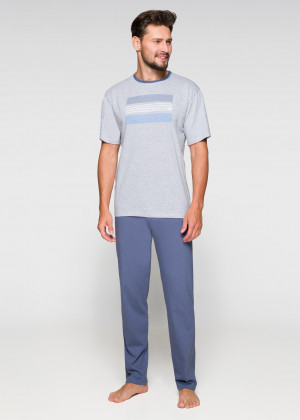 Pánské pyžamo Regina 572 kr/r 2XL-3XL tmavá žíhaná 3XL