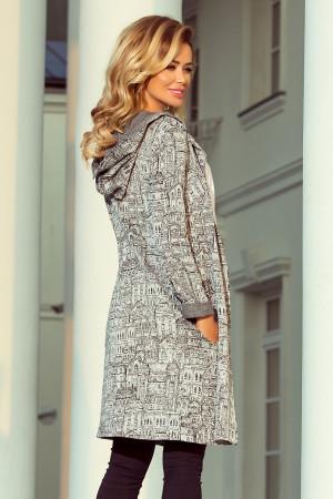 Teplý dámský přehoz s kapucí, kapsami a vzorem