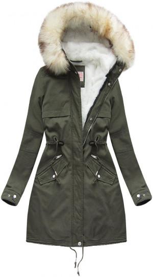 Khaki dámská zimní parka s odepínací vsadkou (W166) khaki XL (42)