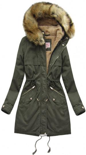 Khaki dámská zimní parka s odepínací vsadkou (W166-1) khaki XS (34)