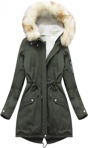 Khaki dámská zimní parka s odepínací vsadkou (W160) khaki S (36)