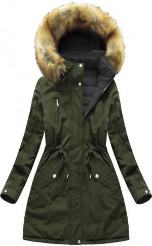 Khaki-černá oboustranná dámská zimní bund s kapucí (W213BIG) khaki XXL (44)