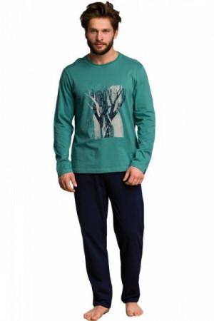 Key MNS 785 B20 Pánské pyžamo L zelená-tmavě modrá