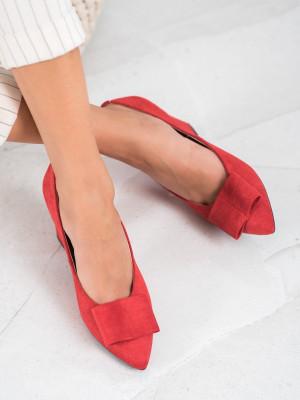 Trendy  lodičky dámské červené na širokém podpatku