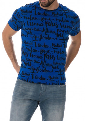 Pánské tričko John Frank JFTEF18 L Blu