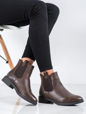 Módní  kotníčkové boty červené dámské na plochém podpatku