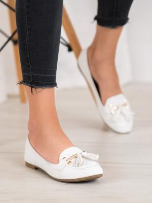 Luxusní  mokasíny bílé dámské bez podpatku