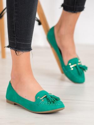 Výborné dámské  mokasíny zelené bez podpatku