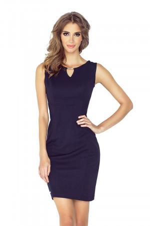 Tmavě modré elegantní dámské šaty s ozdobnou přezkou MM 005-2