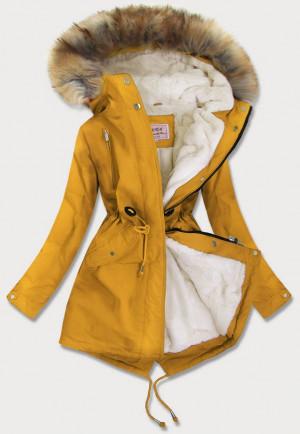 Žlutá dámská zimní bunda parka s kožíškem (W378) žlutá XXL (44)