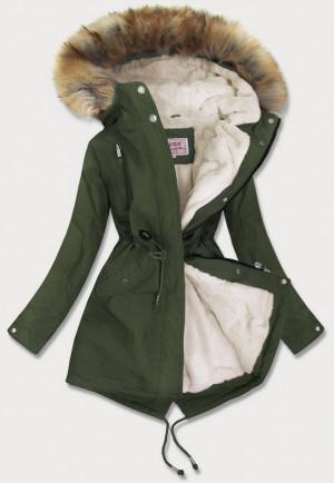 Dámská zimní bunda parka v khaki barvě s kožíškem (W378) khaki M (38)