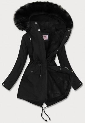 Černá dámská zimní bunda parka s kožíškem (W378BIG) černá