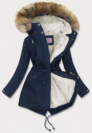 Tmavě modrá dámská zimní bunda parka s kožíškem (W378BIG) tmavěmodrá