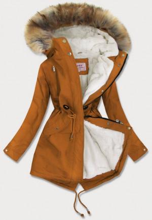 Karamelová dámská zimní bunda parka s kožíškem (W378BIG) hnědá