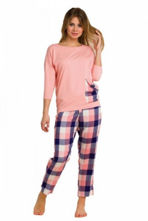 Key LNS 405 B20 Dámské pyžamo XL lososová-tmavě modrá