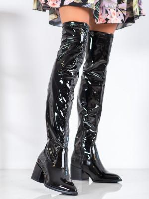 Originální  kozačky dámské černé na širokém podpatku