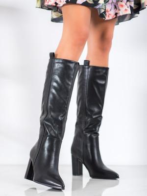 Designové  kozačky dámské černé na širokém podpatku