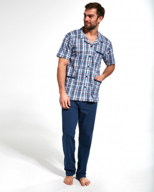 Rozepínané pánské pyžamo Cornette 318/39 kr/r S-2XL  jeans