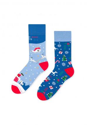 Dámské ponožky More 078 Mikuláš, asymetrické  červená 35-38