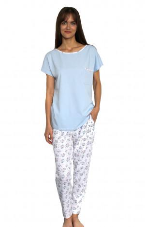 Dámské pyžamo De Lafense Maribell 434 kr/r 2XL modrá