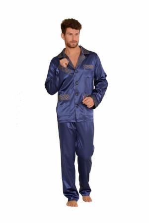 Pánské saténové pyžamo De Lafense 939 tmavě modrá