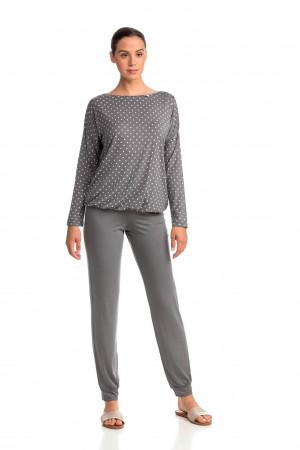 Dámské pyžamo 13903-425 šedá-puntík - Vamp puntík