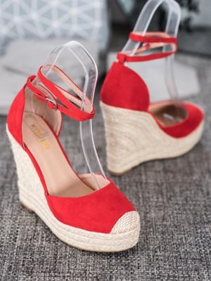 Dámské sandálky na širokém klíny NGSJ-1R - KOMER designed in Italy červená