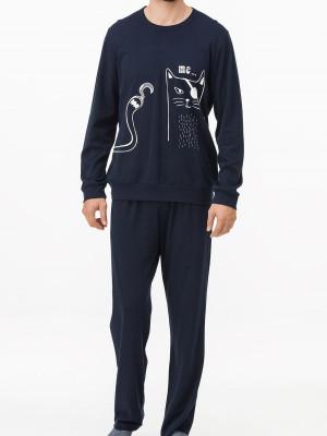 Pánské pyžamo 11424 - Vamp tm.modrá s potiskem 2XL