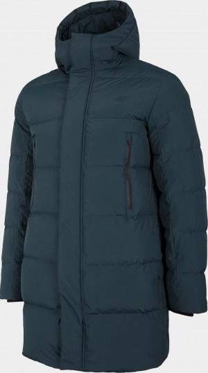 Pánský péřový kabát 4F KUMP201 Tmavě modrý Modrá