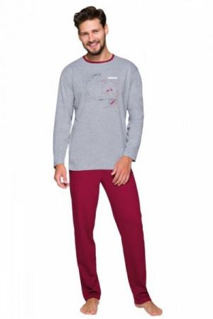 Regina 568 Pánské pyžamo plus size XXL tmavě šedá melanž