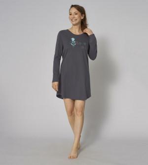 Noční košile Nightdresses NDK 02 LSL - Triumph oblázkově šedá (00DK) 044